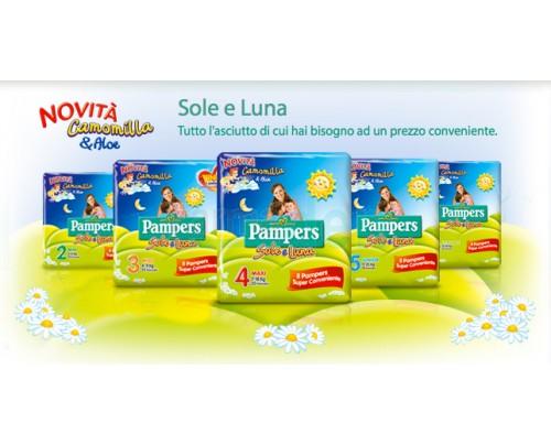 Pampers Pannolini Linea Sole e Luna Camomilla e Aloe taglie dalla 2^ alla 6^ misura.